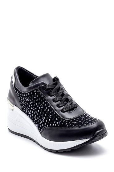 Siyah Kadın Dolgu Topuklu Sneaker 5638203215