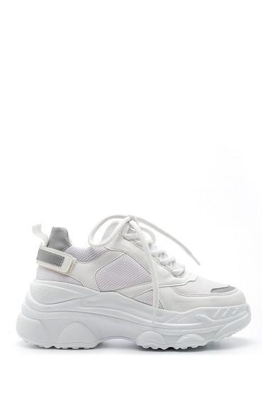 Beyaz Kadın Yüksek Tabanlı Sneaker 5638203287