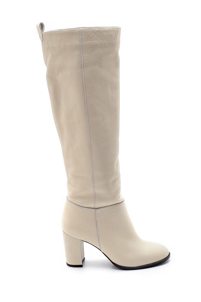 Bej Kadın Deri Topuklu Çizme 5638209705