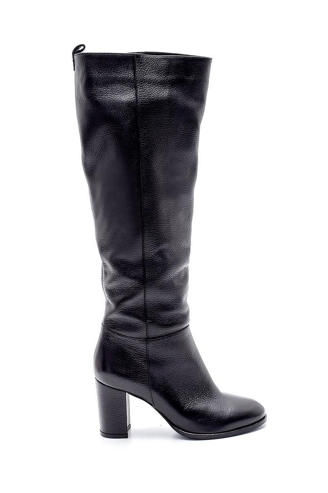 Siyah Kadın Deri Topuklu Çizme 5638209707