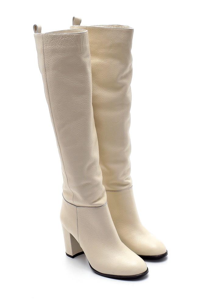 5638209705 Kadın Deri Topuklu Çizme