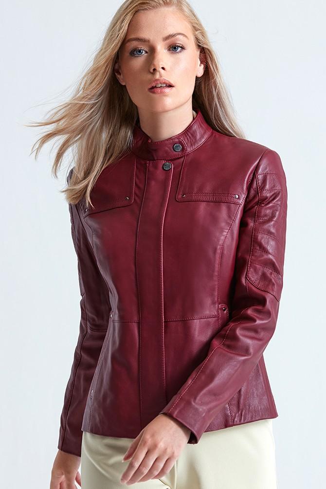 Kırmızı Edith Kadın Deri Ceket 5638065791