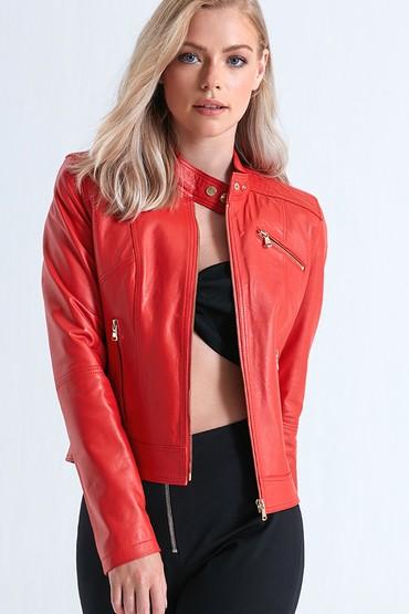 Kırmızı Kylie Kadın Deri Ceket 5638083410