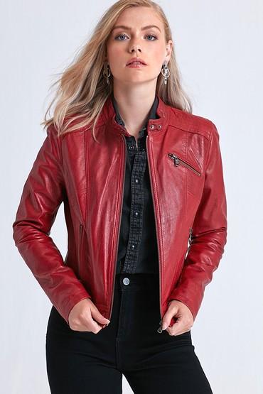 Kırmızı Kylie Kadın Deri Ceket 5638047806
