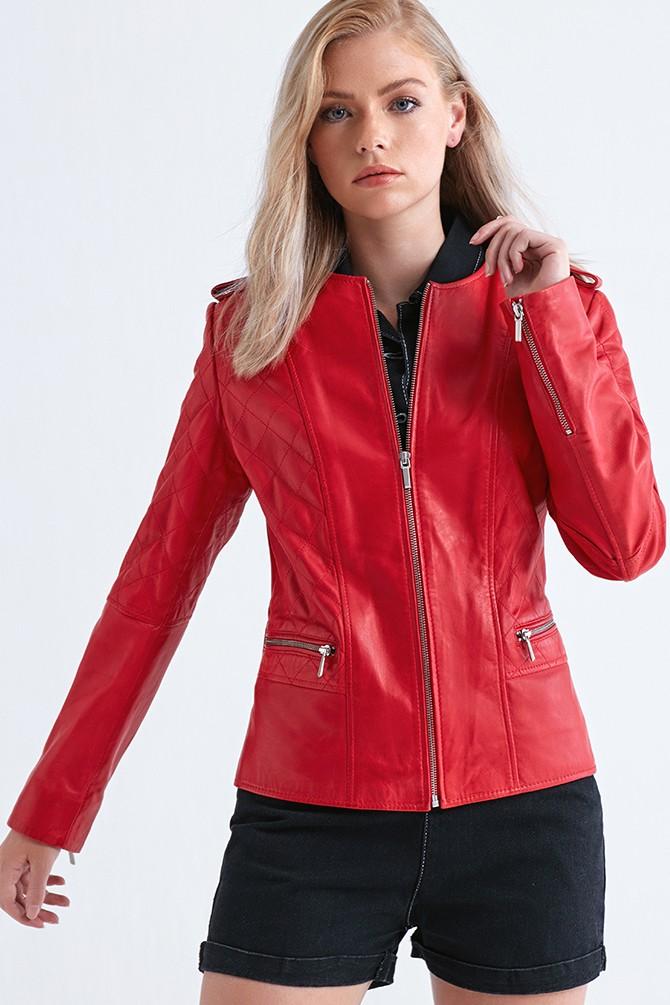 Kırmızı Lopez Kadın Deri Ceket 5638047813