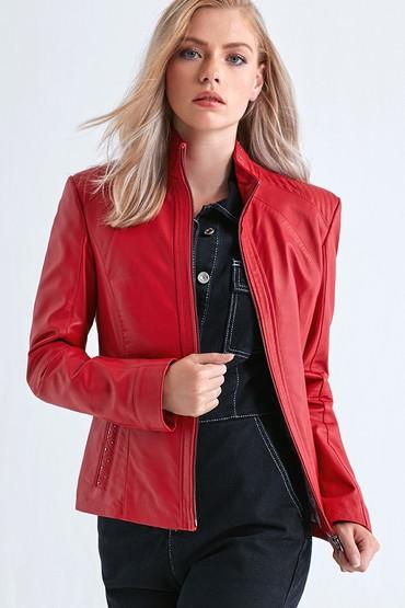 Kırmızı Grace Kadın Deri Ceket 5638072389