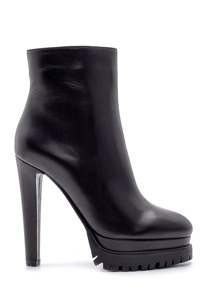 Siyah Kadın Deri Topuklu Bot 5638198602
