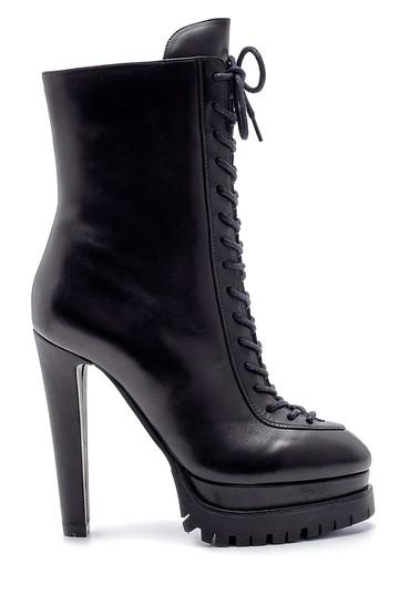 Siyah Kadın Deri Bağcıklı Topuklu Bot 5638198612
