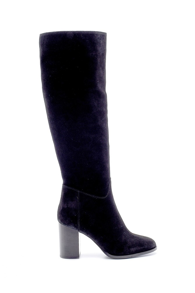 Siyah Kadın Süet Topuklu Çizme 5638209686