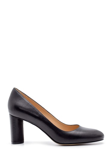 Siyah Kadın Deri Kalın Topuklu Ayakkabı 5638183837