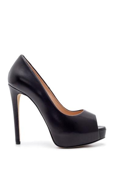 Siyah Kadın Deri Topuklu Ayakkabı 5638183888