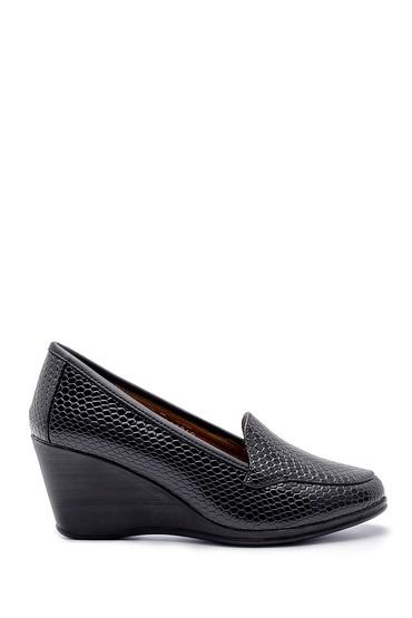 Siyah Kadın Yılan Derisi Desenli Dolgu Topuklu Ayakkabı 5638199418