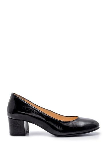 Siyah Kadın Deri Kalın Topuklu Ayakkabı 5638203048