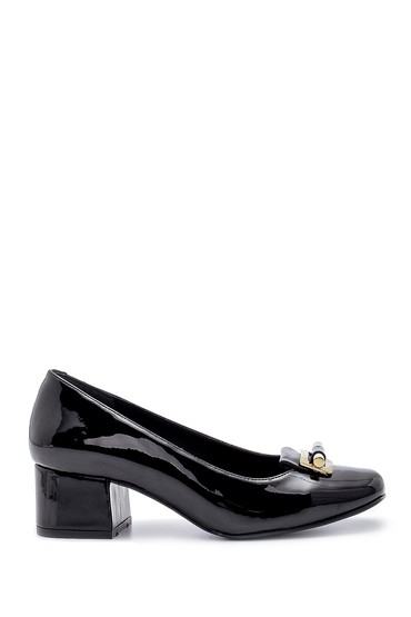 Siyah Kadın Rugan Kalın Topuklu Ayakkabı 5638203095
