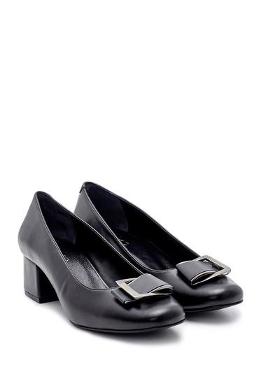 Siyah Kadın Toka Detaylı Kalın Topuklu Ayakkabı 5638203111