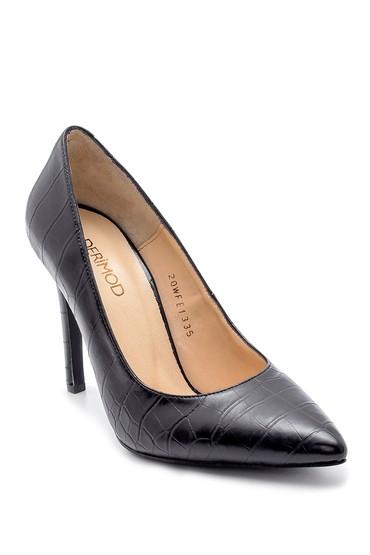 Siyah Kadın Kroko Desen Stiletto 5638203123