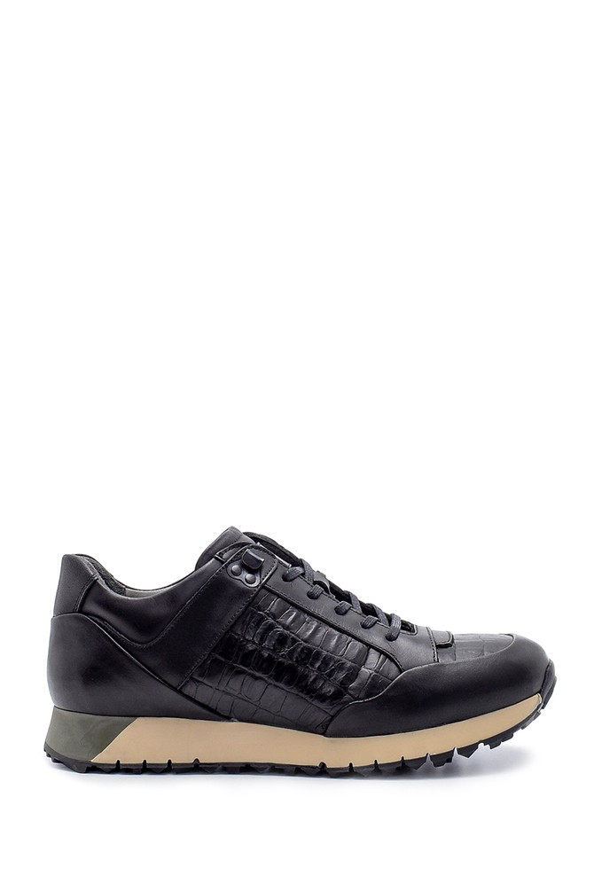 Siyah Erkek Deri Sneaker 5638204800