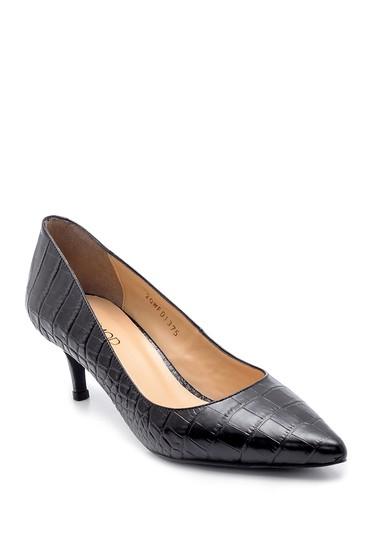 Siyah Kadın Deri Kroko Desenli Stiletto 5638213687