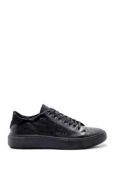 Siyah Erkek Deri Baskılı Sneaker 5638203993
