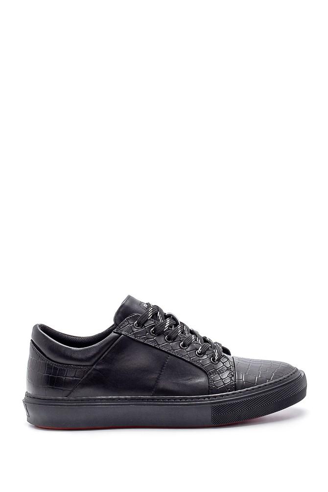 Siyah Erkek Deri Kroko Desen Sneaker 5638204798