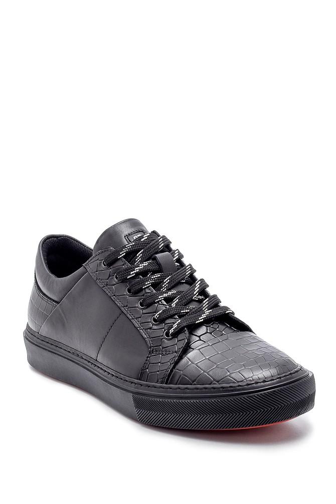 5638204790 Erkek Deri Kroko Desen Sneaker