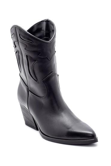 Siyah Kadın Deri Topuklu Kovboy Bot 5638206001