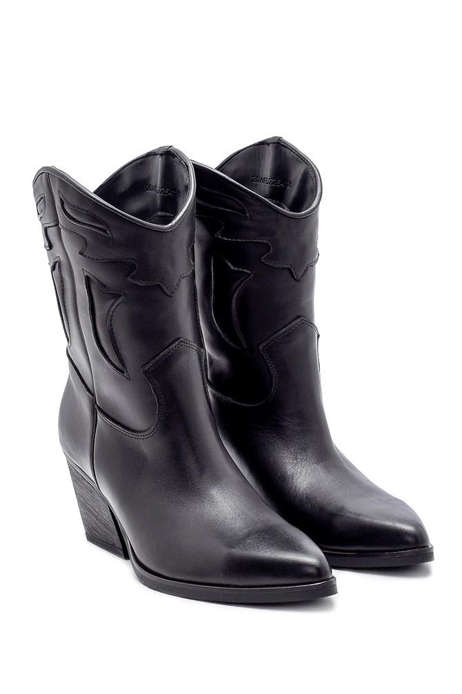 5638206001 Kadın Deri Topuklu Kovboy Bot