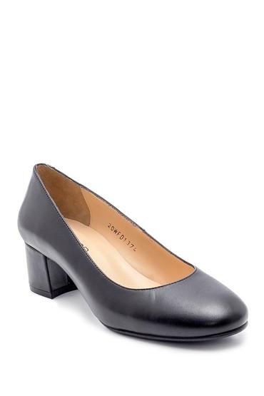 Siyah Kadın Deri Kalın Topuklu Ayakkabı 5638208816