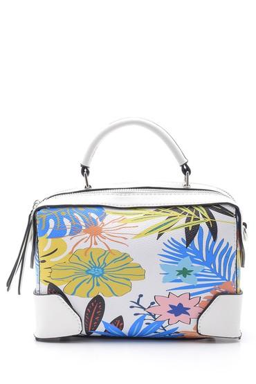 Beyaz Kadın Çiçek Desenli Kol Çantası 5638150146