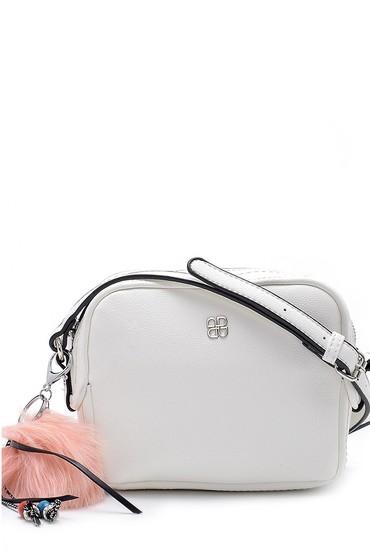 Beyaz Kadın Aksesuar Detaylı Çapraz Çanta 5638150166