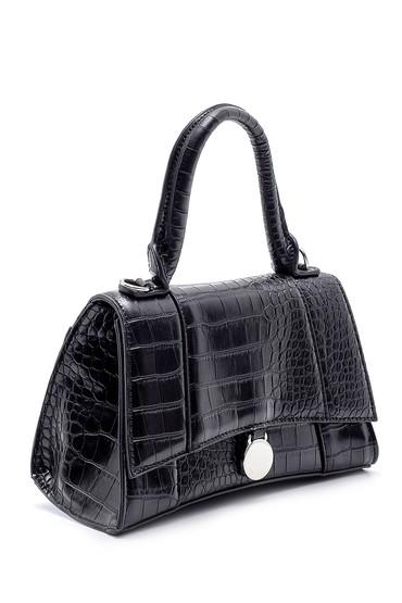 Siyah Kadın Kroko Desenli Kol Çantası 5638197462