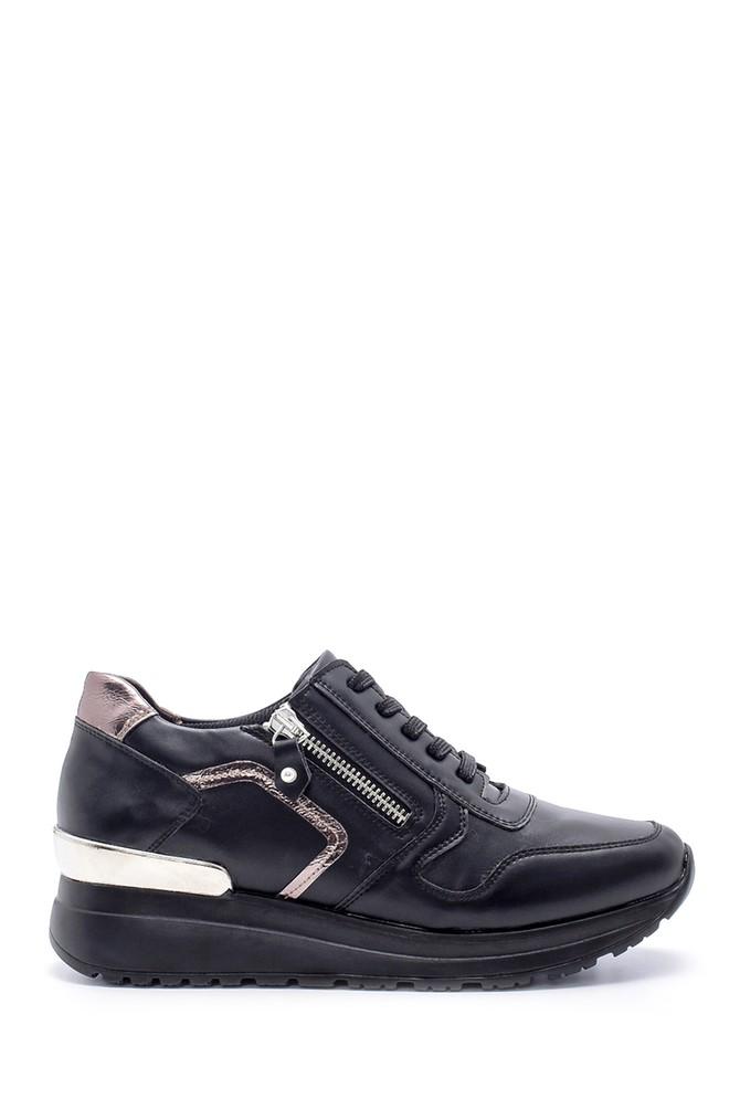 Siyah Kadın Fermuar Detaylı Sneaker 5638203203
