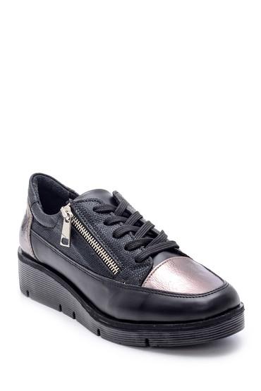Siyah Kadın Fermuar Detaylı Sneaker 5638203233