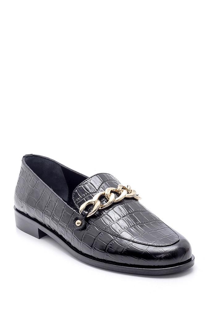 5638213386 Kadın Deri Kroko Desenli Loafer