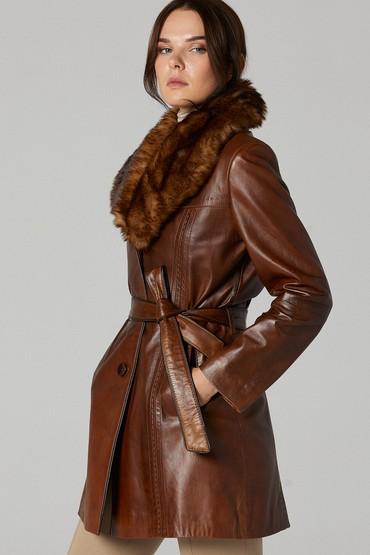 Kahverengi New Alexandra Kadın Deri Ceket 5638142298