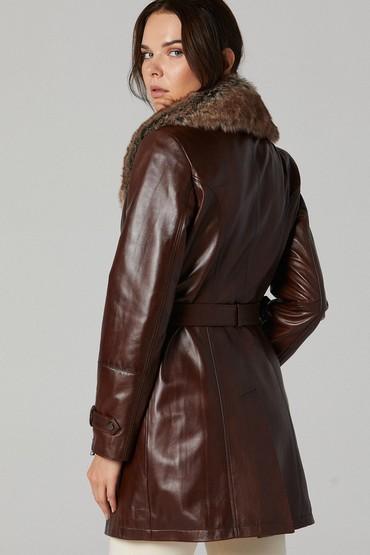 Kahverengi Rhoda Kadın Deri Ceket 5638226326