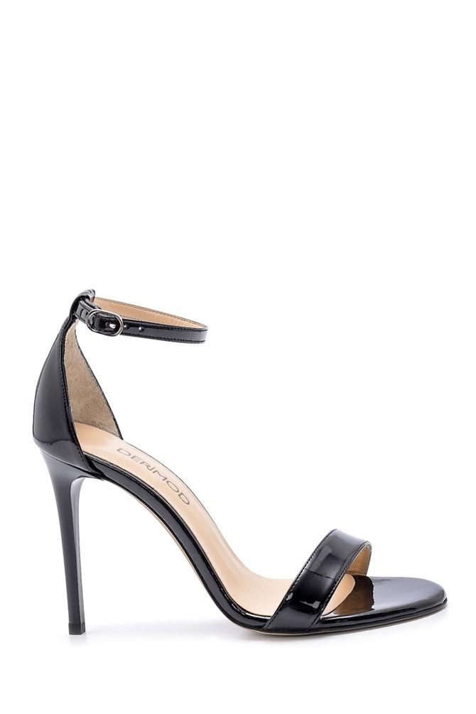 Siyah Kadın Rugan İnce Topuklu Sandalet 5638166124