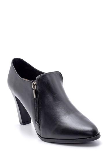 Siyah Kadın Topuklu Fermuar Detaylı Bootie 5638178321