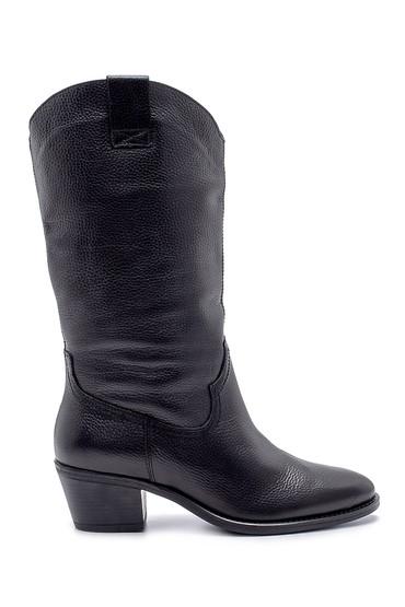 Siyah Kadın Deri Topuklu Çizme 5638192016
