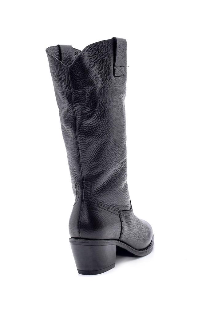 5638192016 Kadın Deri Topuklu Çizme