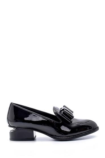 Siyah Kadın Rugan Topuk Detaylı Ayakkabı 5638199352