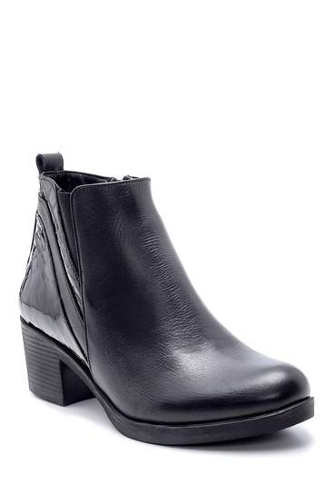Siyah Kadın Rugan Detaylı Topuklu Bot 5638202566