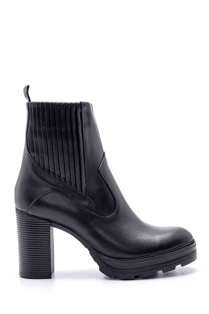 Siyah Kadın Deri Topuklu Bot 5638206035
