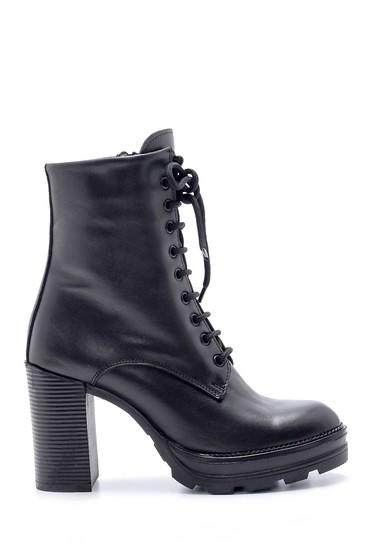 Siyah Kadın Deri Topuklu Bot 5638206049