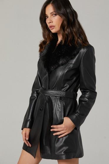 Siyah New Alexandra Kadın Deri Ceket 5637376169