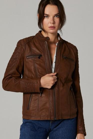 Kahverengi Gala Kadın Deri Ceket 5638114586