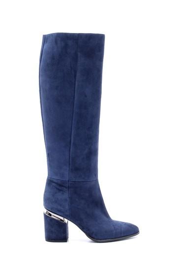 Lacivert Kadın Süet Topuklu Çizme 5638198642