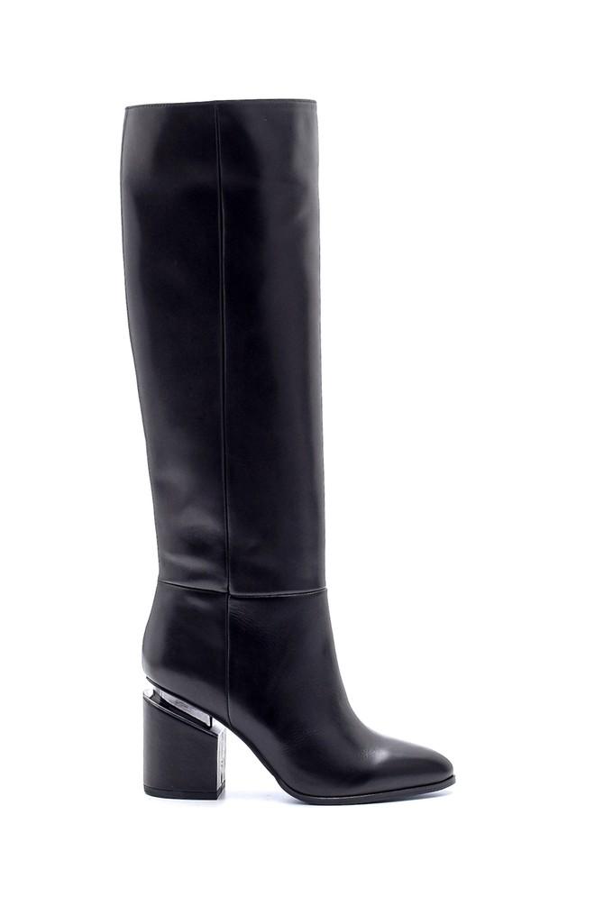 Siyah Kadın Deri Topuklu Çizme 5638198654