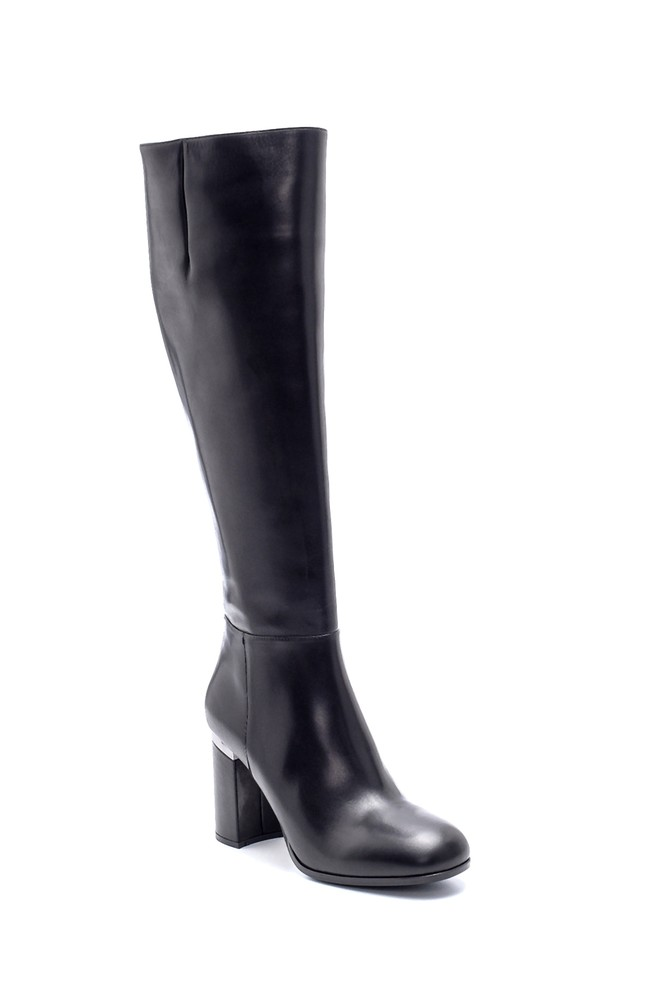 5638198662 Kadın Deri Topuklu Çizme