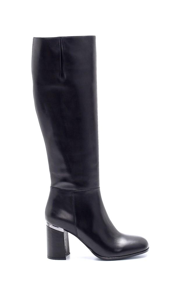 Siyah Kadın Deri Topuklu Çizme 5638198662